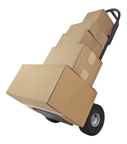 A moving Dollie full of cardboard boxes.